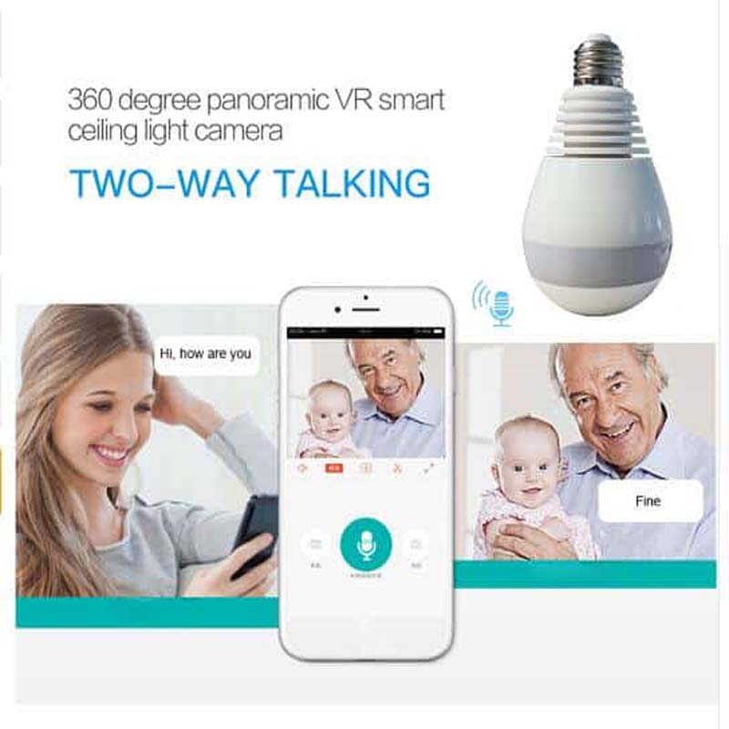 Wi-Fi Light Bulb Camera - HD 360 Degree Panoramic View with Audio