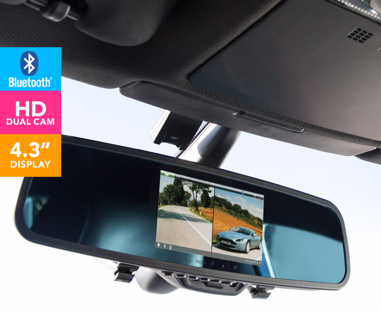 Full HD 1080p Dual Cameras on Rearview Mirror