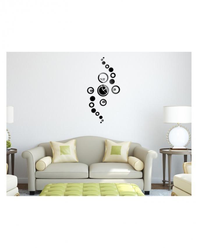 Modern-Design-Luxury-Mirror-Wall-Clock-Black