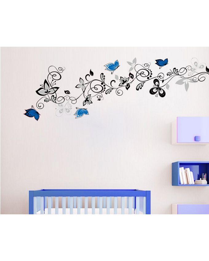 Flower-Vine-Wall-Sticker-Blue-130-cm