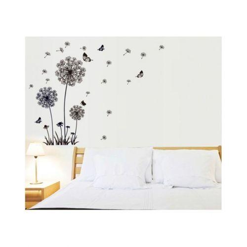 Butterfly-Flying-In-Dandelion-Vinyl-Wall-Sticker-Black