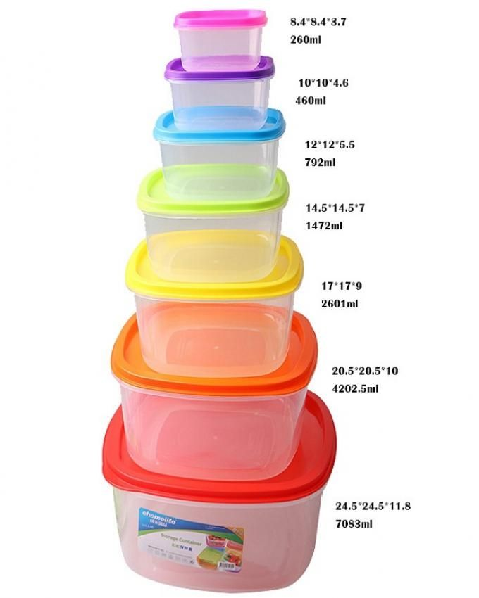Pack of 7 - Square Shape Storage Containers - Multicolor