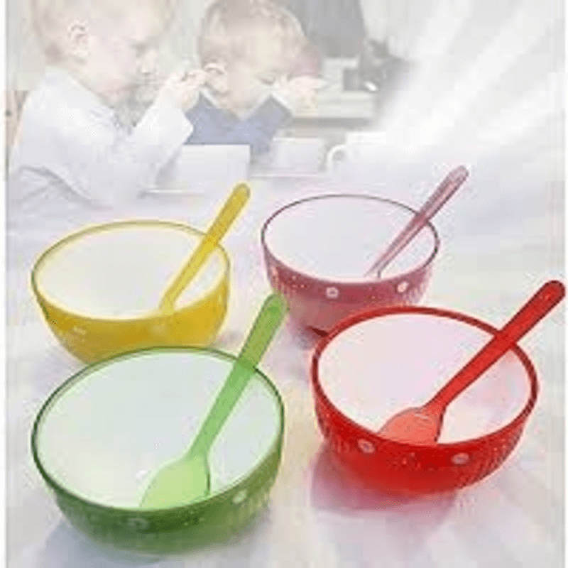 Pack of 4 - Bowls & Spoons Set - Multicolor