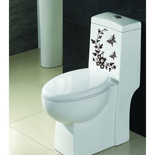 Bathroom Toilet Sticker - black