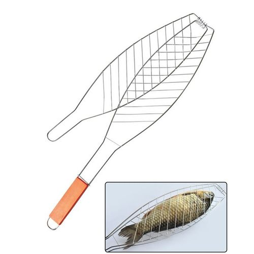 Fish Grill Basket + Outdoor Barbecue Grill Clip +Wood Handle