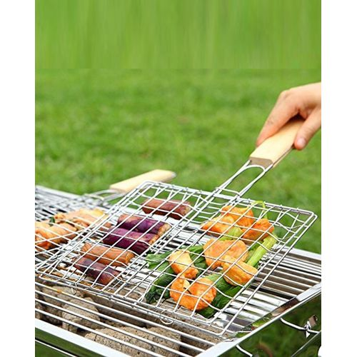 Chrome Plated Barbecue Grill Net Basket + Wood Handle- Large