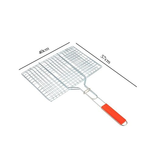 Chrome-Plated-Barbecue-Grill-Net-Basket-With-Wooden-Handle