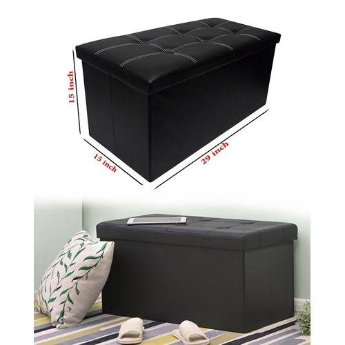 Buy Folding Storage Ottoman Coffee Table Foot Rest Stool Black In