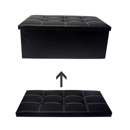 Folding Storage Ottoman Coffee Table Foot Rest Stool - Black
