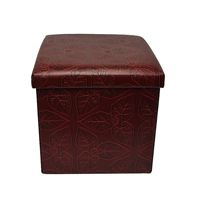 Folding Storage Ottoman Foot Rest & Stool - Maroon