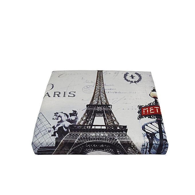 Folding Storage Ottoman Foot Rest & Stool - Eiffel Tower
