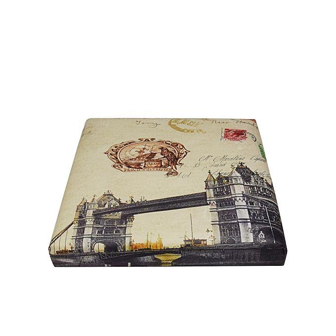 Folding Storage Ottoman Foot Rest & Stool - London Bridge