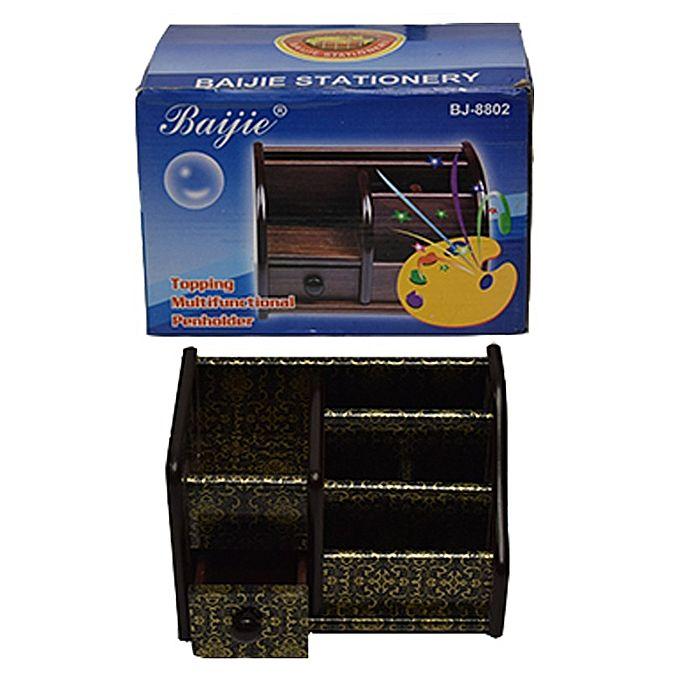 Wooden-Pen--Stationery-Holder-Bj8802-Black-golden