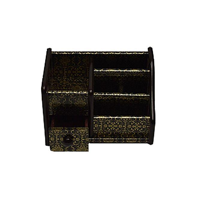 Wooden Pen & Stationery Holder Bj8802 Black & golden