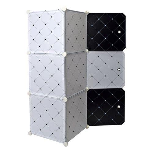 White Black Wardrobe Organizer Rack For Kids - 6 Cubes