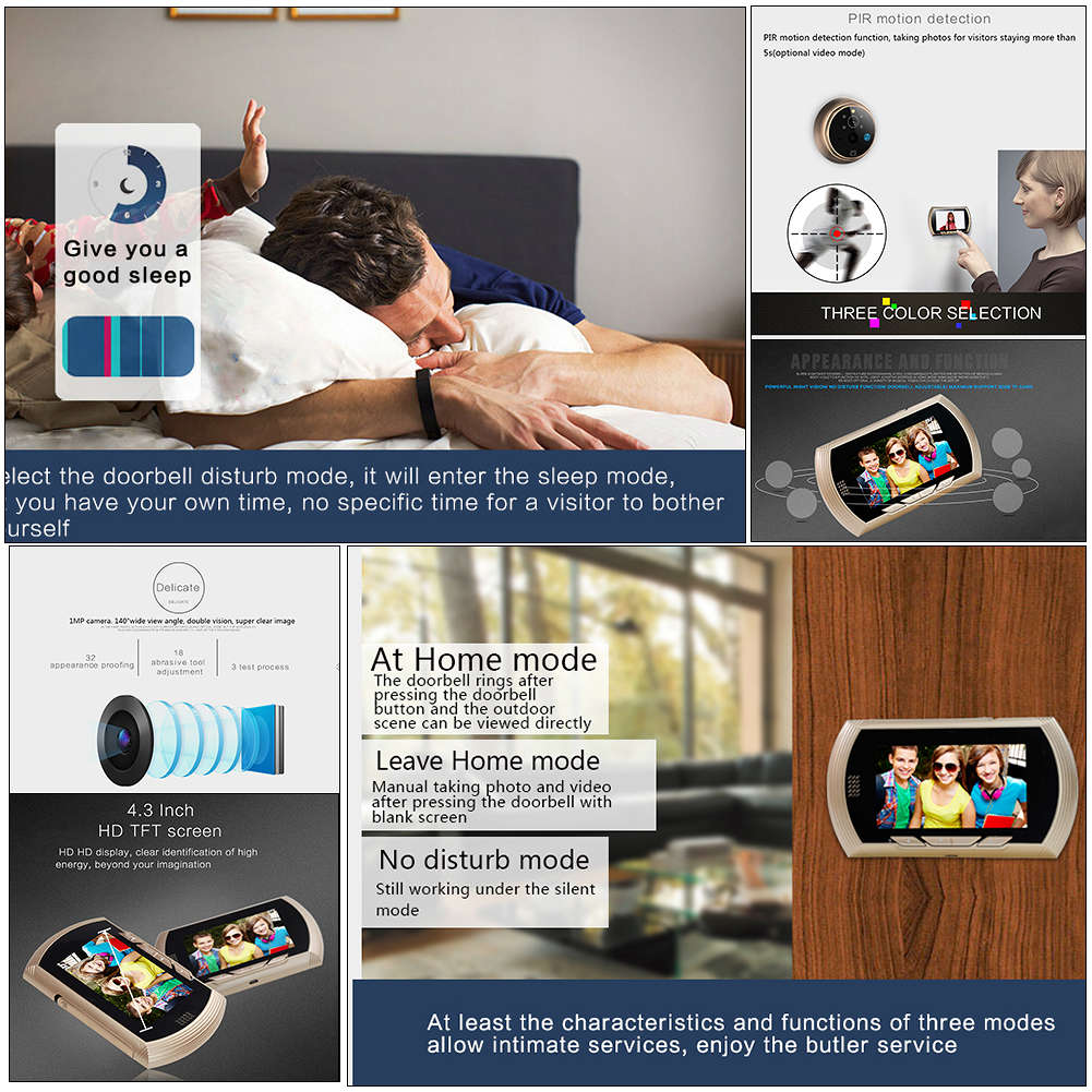 4-3 HD Screen Smart Digital Door Viewer with IR Night Vision