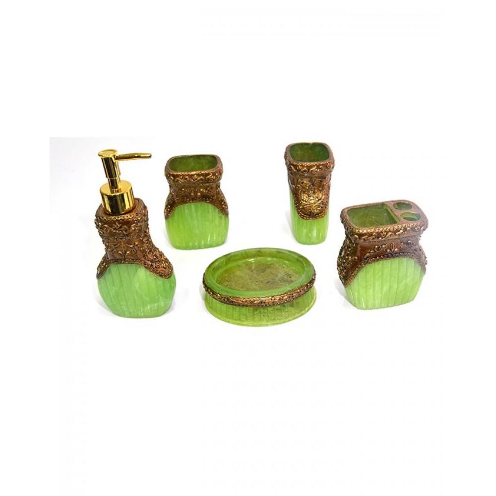 Bathroom Accessories Set Acrylic Material 5 Pieces - Green
