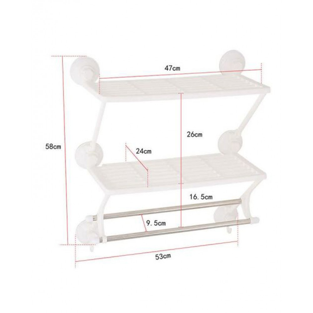 Double Layer Double Rods Shelf Magic Suction Cup