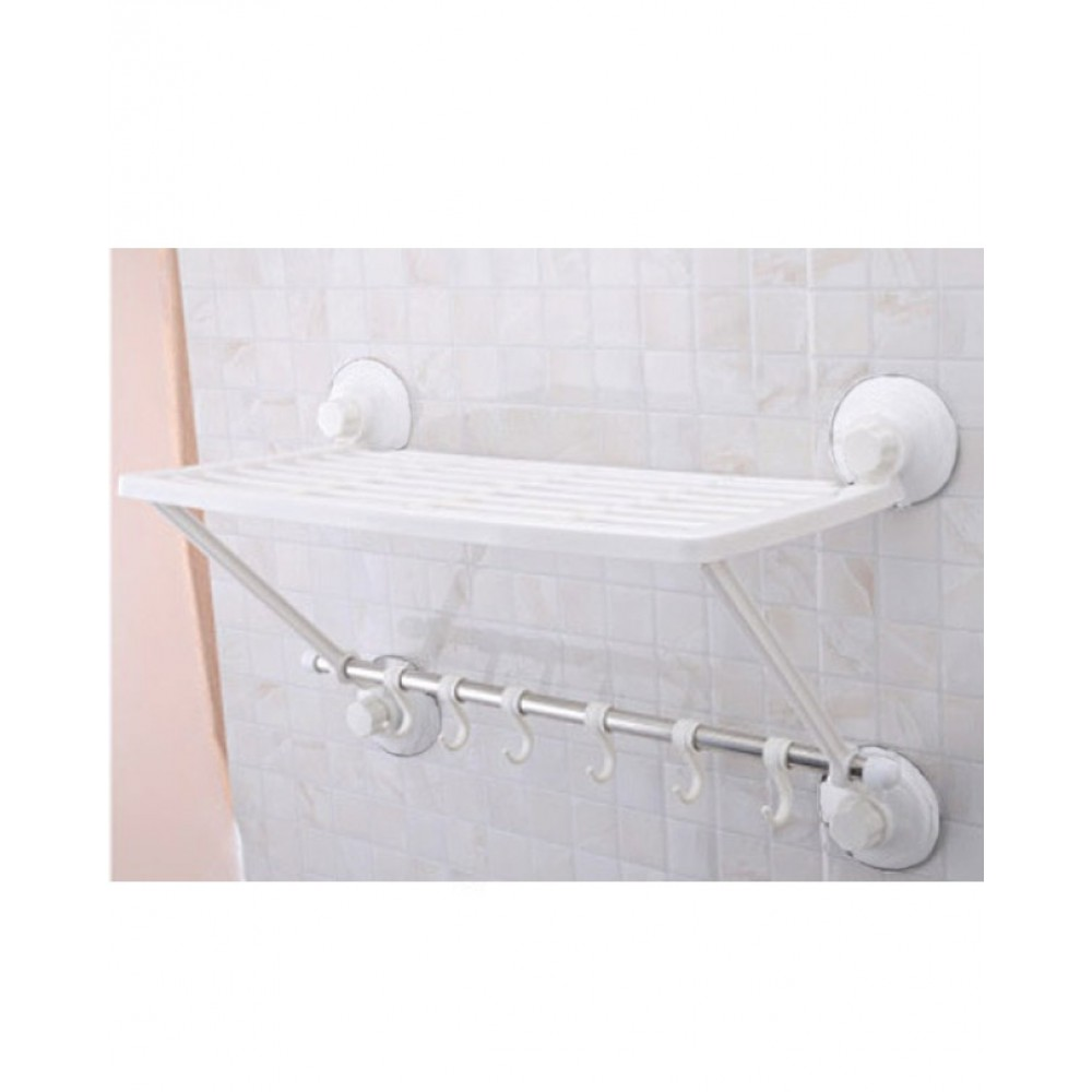 One Layer Towel Shelf With Hooks - Magic Suction Cup