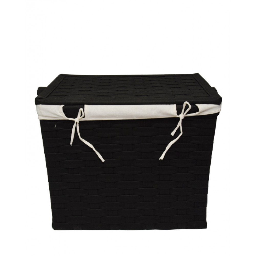 Pack Of 3 Flip Interwoven Strapping Laundry Baskets - Black