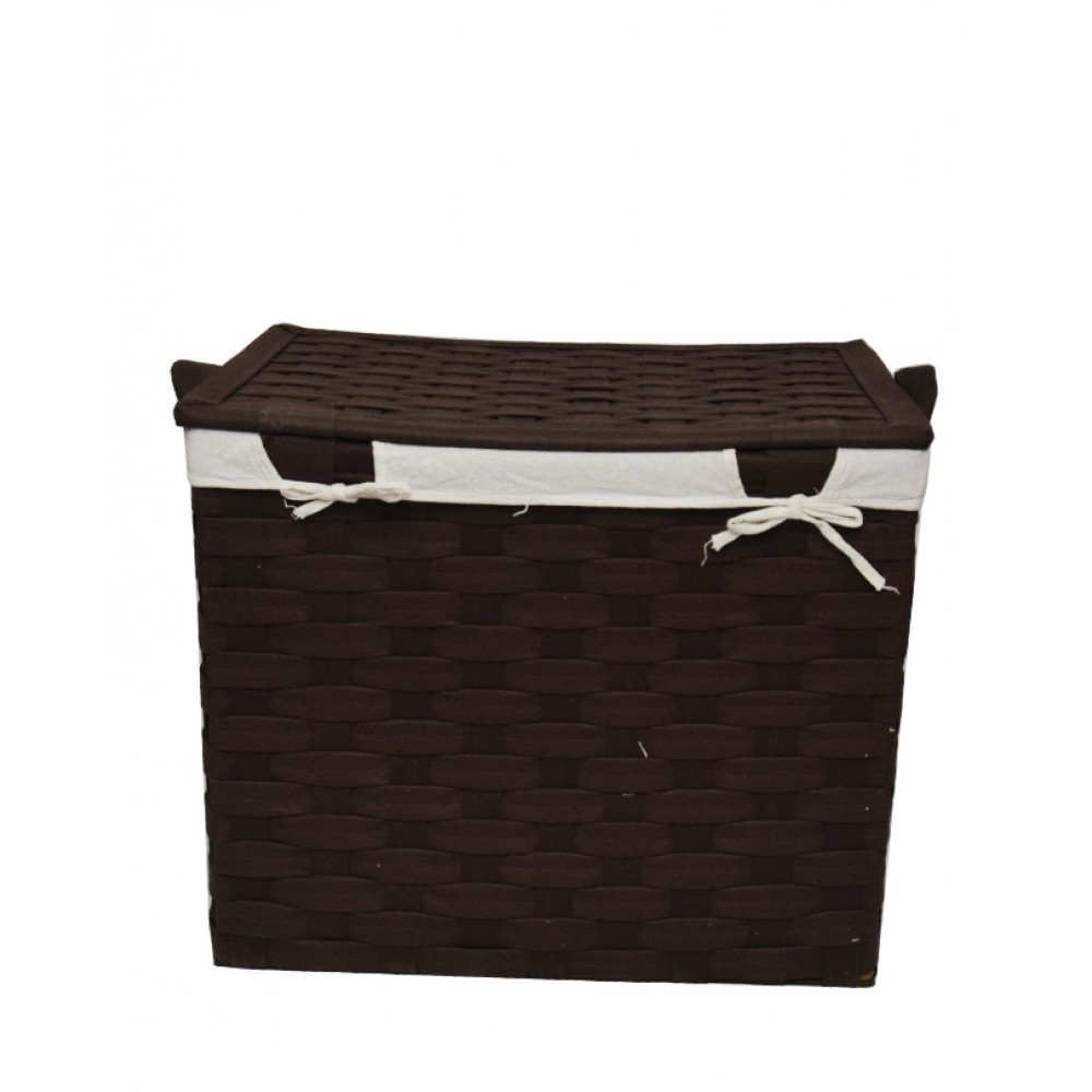 Pack Of 3 Flip Interwoven Strapping Laundry Baskets - Brown