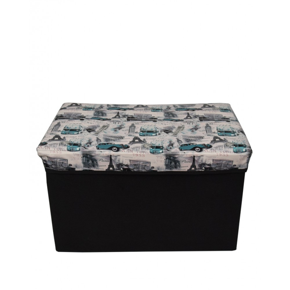 Foldable Storage Stool Seat Suede Cube Ottoman Bench-blue