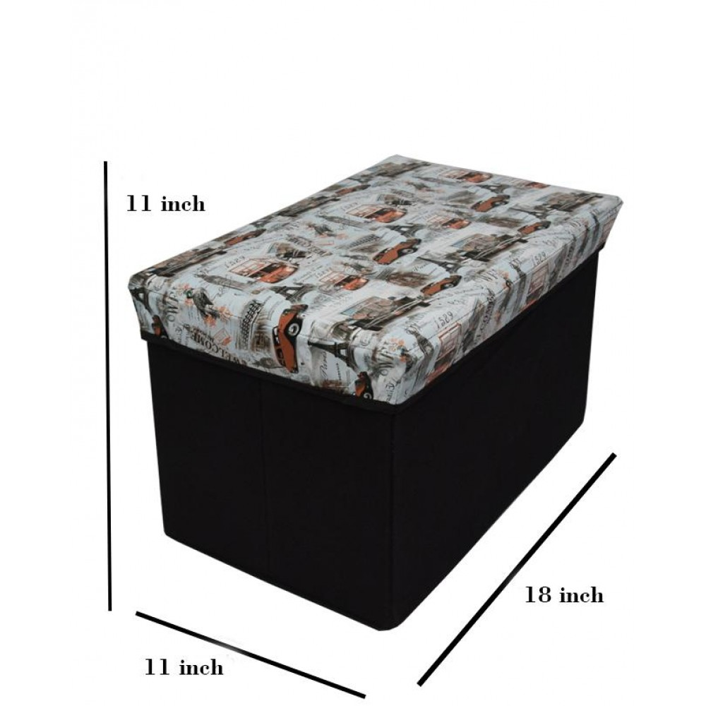 Foldable Storage Stool Seat Suede Cube Ottoman Bench-orange