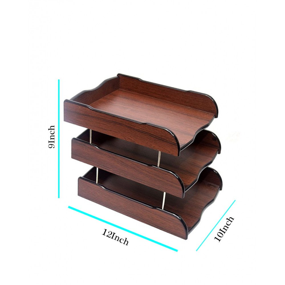 Wooden 2 Layer Document Plate For Office And Home
