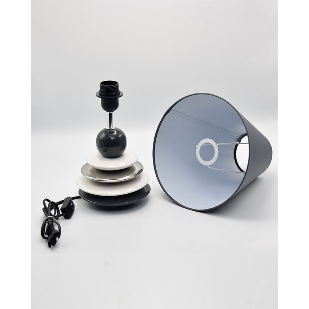 Side Table Ceramic Lamps - Plates - Grey