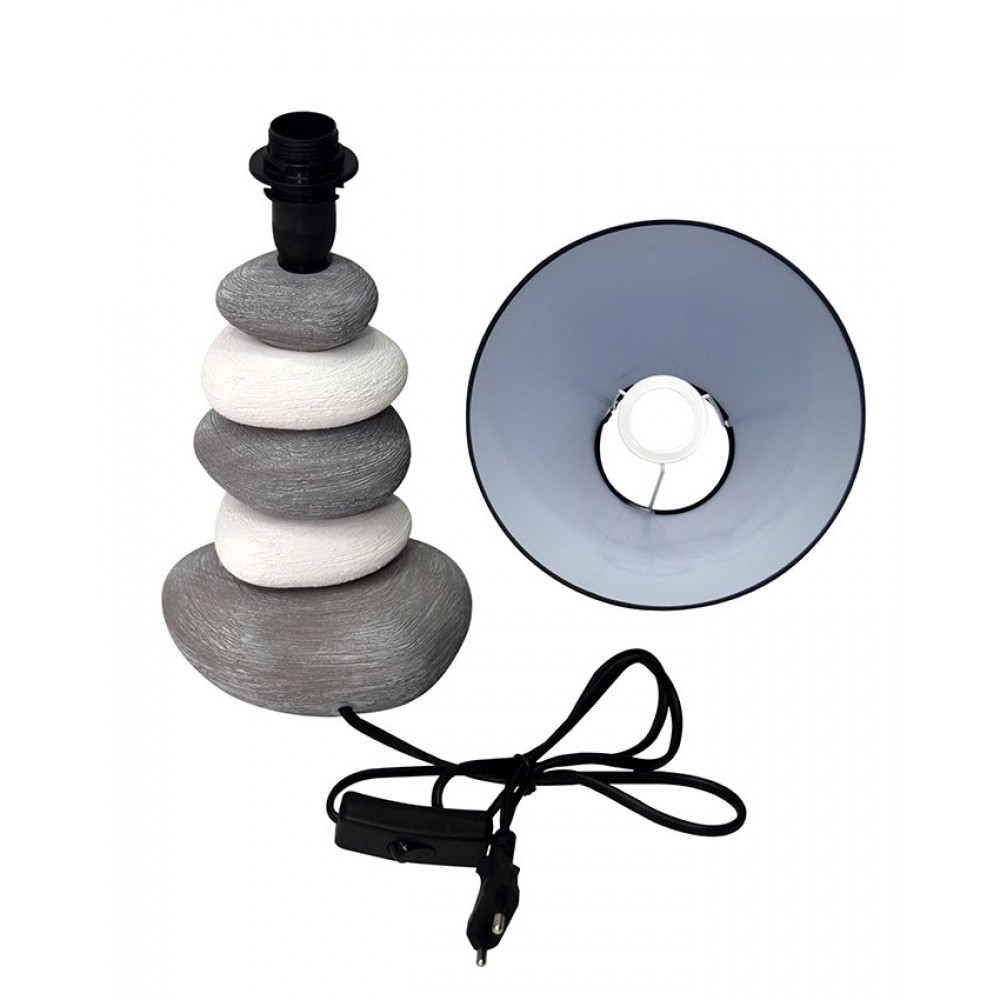 Side Table Ceramic Lamps - Stones - Grey