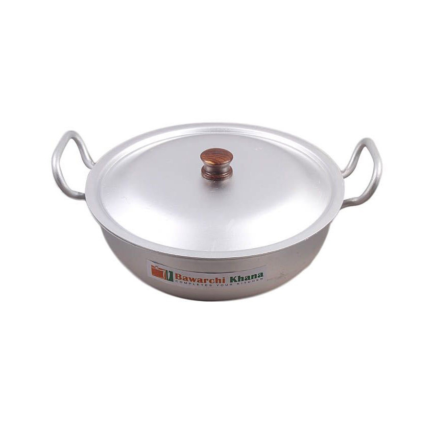 Silver Steel Wok With Lid Silver