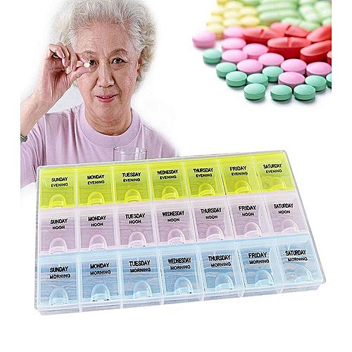Weekly Tablet Pill Medicine Box 7 Days - 21 Compartment