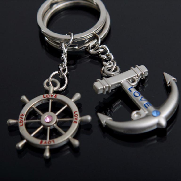 1 pair Anchor Key Ring Metal