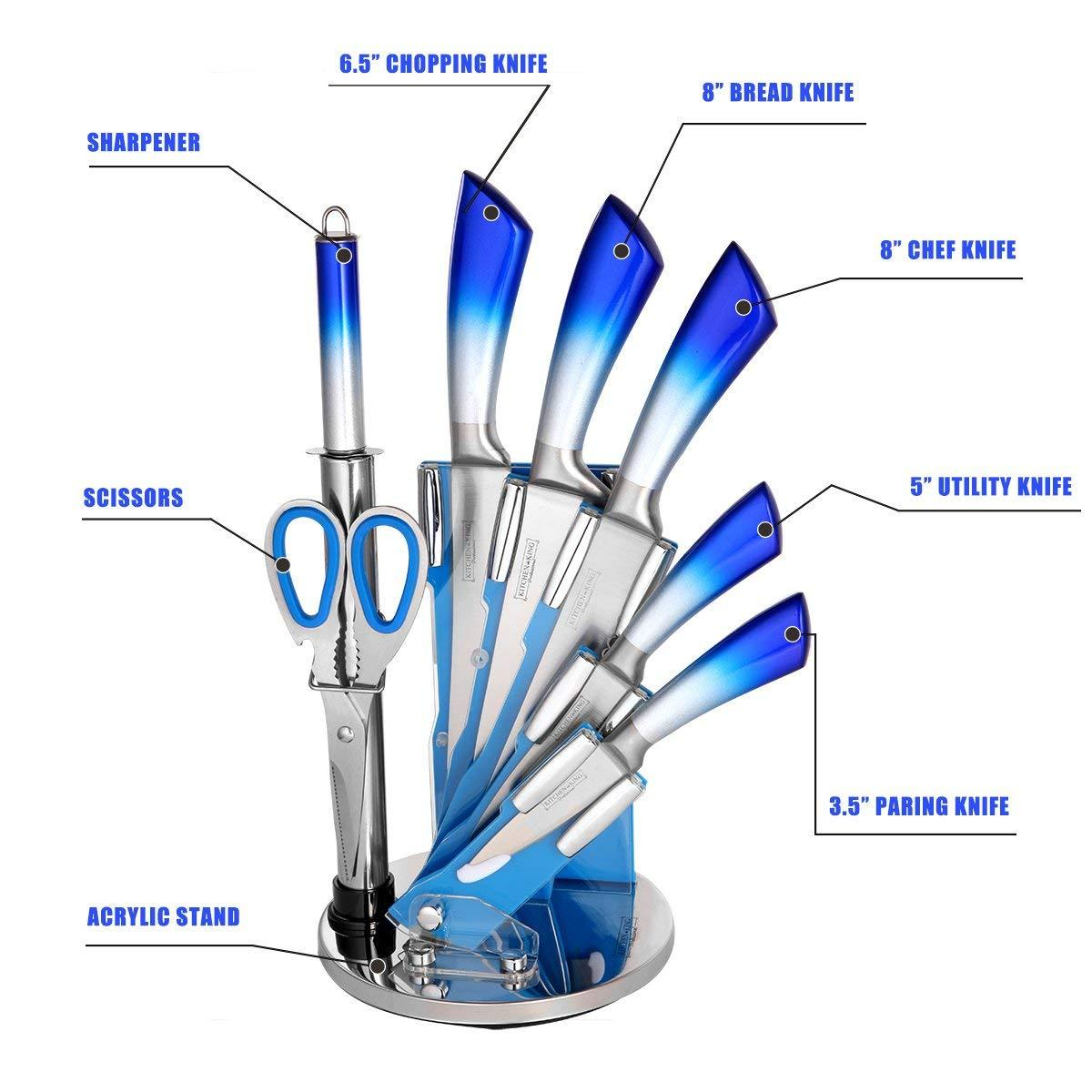 8-Piece Stainless Steel Kitchen Cutlery Knife Set with acrylic Rotating Block Stand