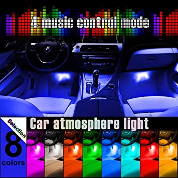 4-Piece 8 Color LED Interior Lighting Kit For Car-IR Control