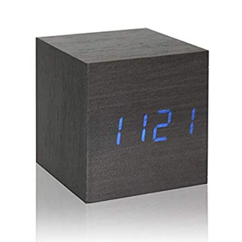 Wooden Thermometer Digital LED Alarm Clock with light, Voice
