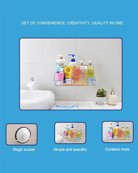 Bathroom Kitchen Chrome Shelves Rack With Magic Suction Cups