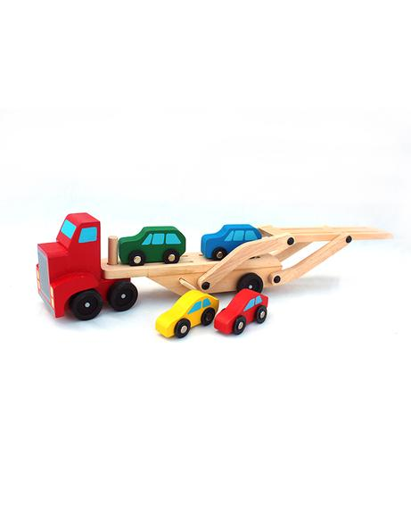 01 Carrier Truck and 4 Cars Wooden Toy Set