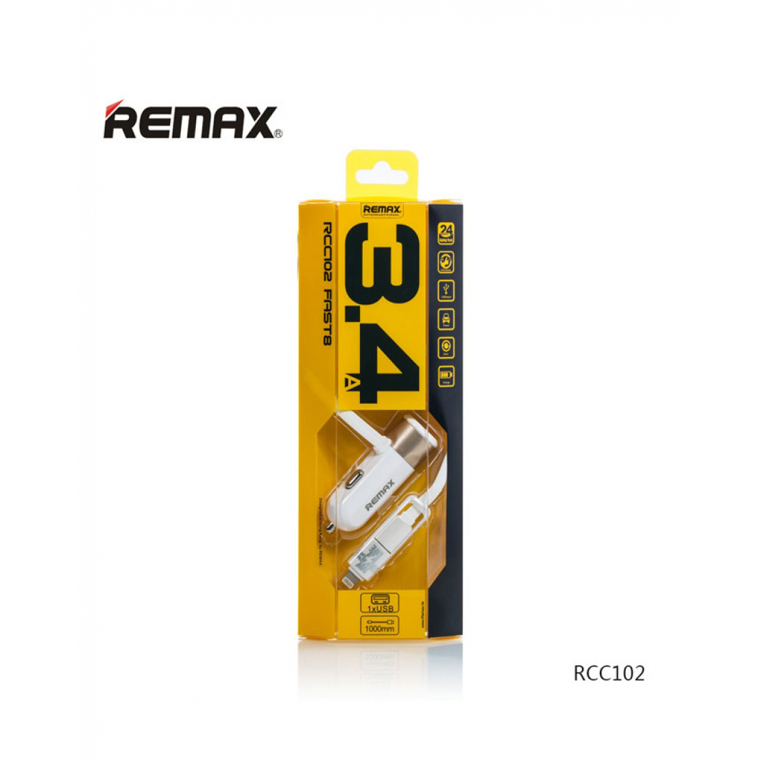 Remax Fast 8 3.4A Single USB Car Charger With 2in1 Cable
