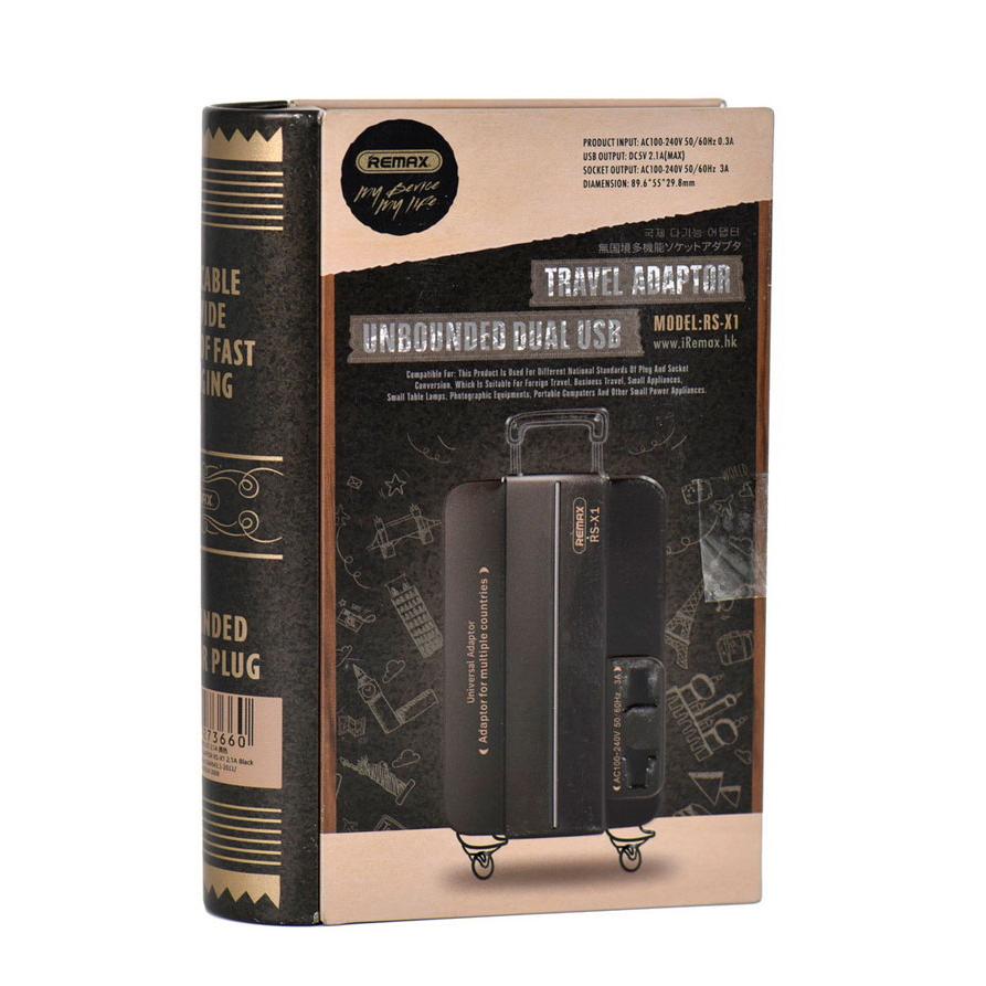 Remax Universal EU/US/AU/UK Adaptor Dual USB Travel Charger