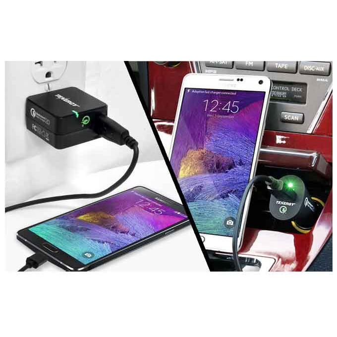 18W Adaptive 2.0 AC Wall Charger + Car Charger for Mobile