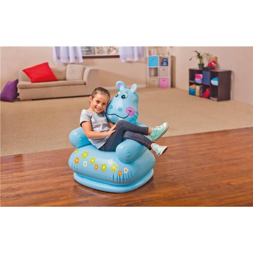 Intex Happy Animal Kids Air Chair With Pump - Blue