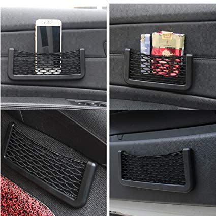 Car seat side back pocket storage string bag Phone holder