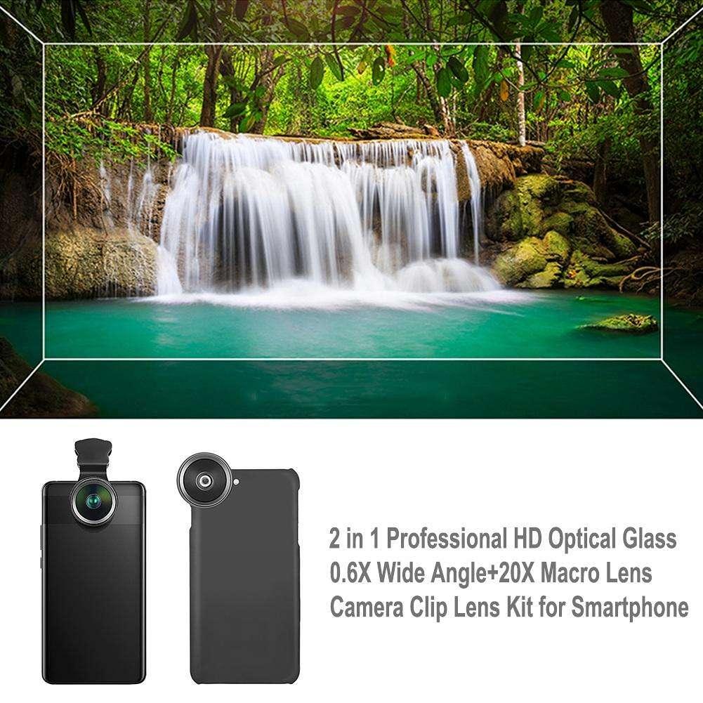 HD Optical Glass Wide Angle + 20X Macro Lens Camera Clip Kit