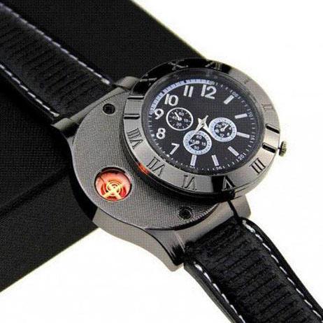 Digital USB Lighter Watch Novelty Windproof - Black