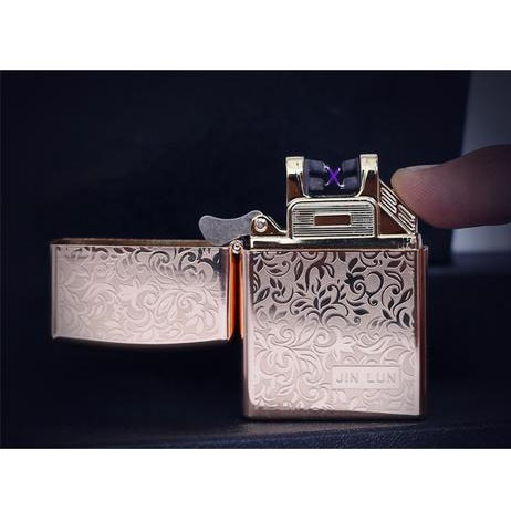 Dual X Laser Rechargeable Lighter - Leaves design