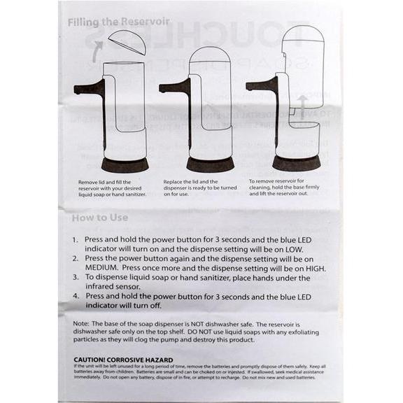 Touchless Motion Sensor Soap Dispenser + Removable Reservoir