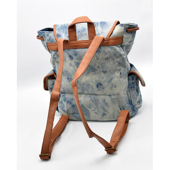 Retro Vintage Drawstring Denim Backpack