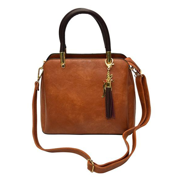 Luxury Pu Leather Women Handbag Shoulder Bag- Light Brown