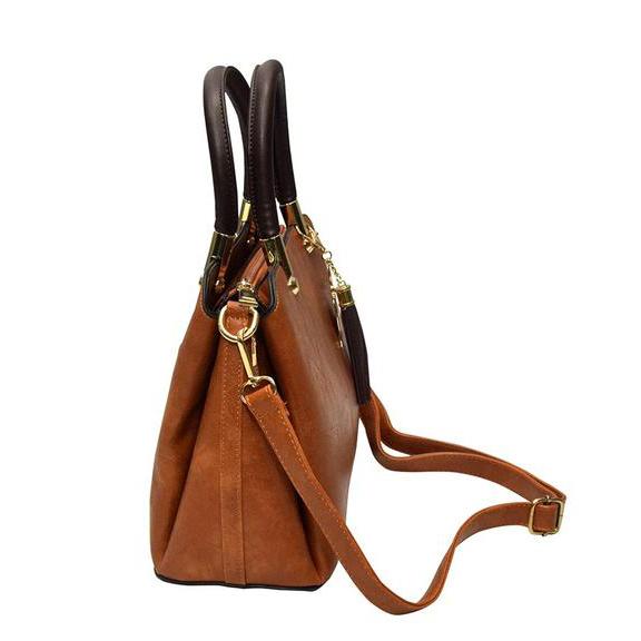 Luxury Pu Leather Women Handbag Shoulder Bag- Light Brown